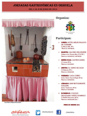 2nd to 8th June, 7 fabulous menus for Orihuela gastronomic week