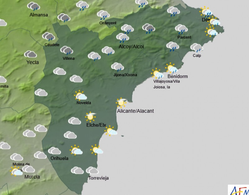 Cloudy and cool with showers for the first week of March in the Costa Blanca