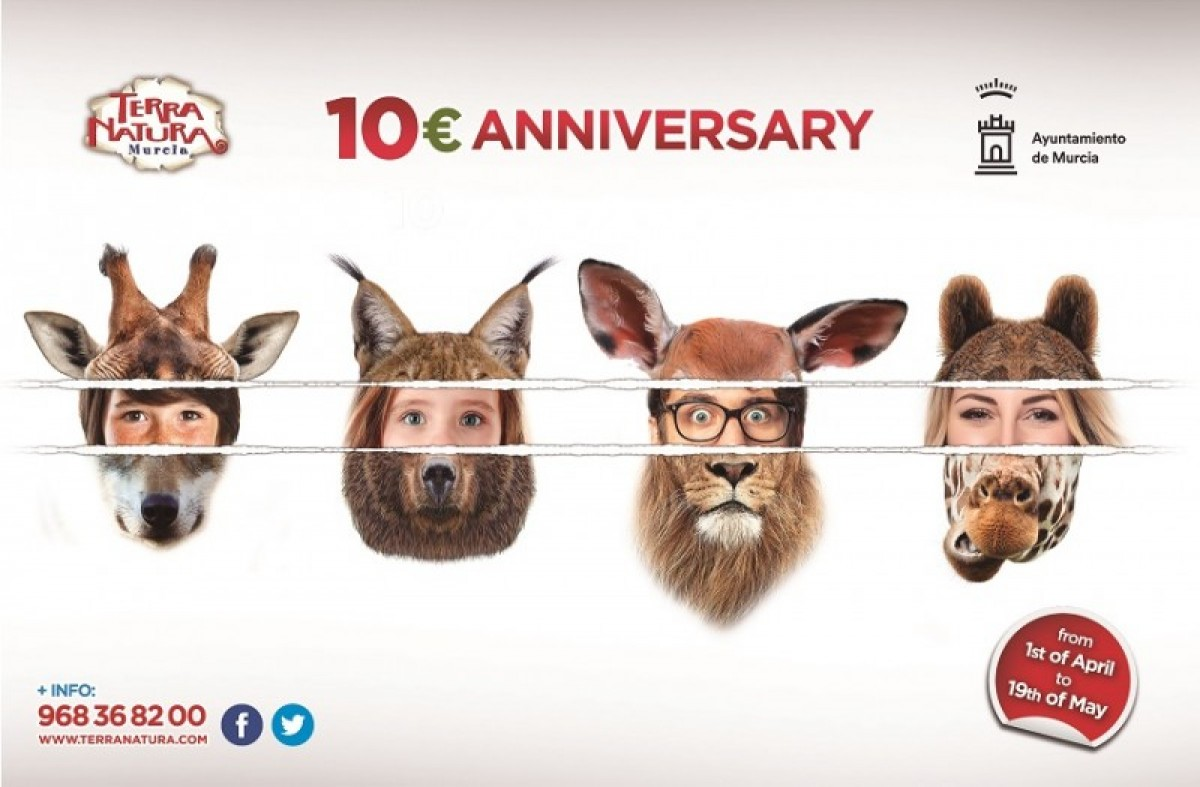 1st April to 19th May Tickets for just 10€ at wildlife park Terra Natura Murcia