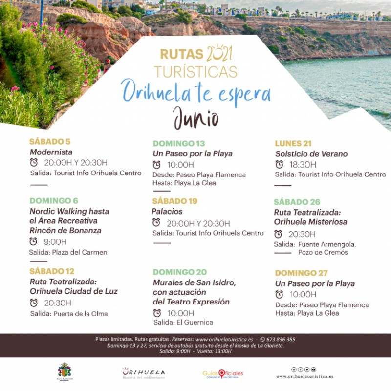 Free tours of Orihuela and its coastline during June