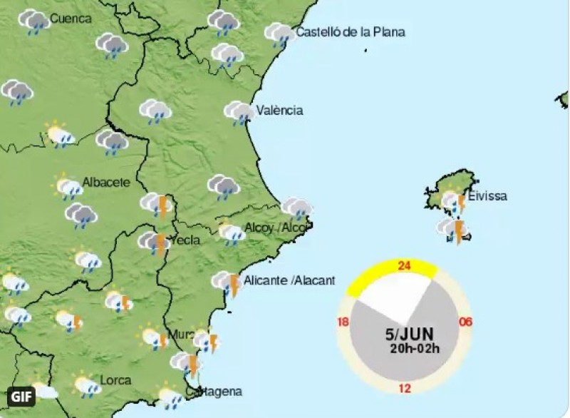 <span style='color:#780948'>ARCHIVED</span> - Wet weekend with storms ahead in Valencia region