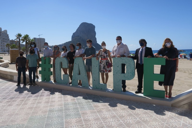 Sign made from plastic dragged from Mediterranean sea erected at Calpe beach