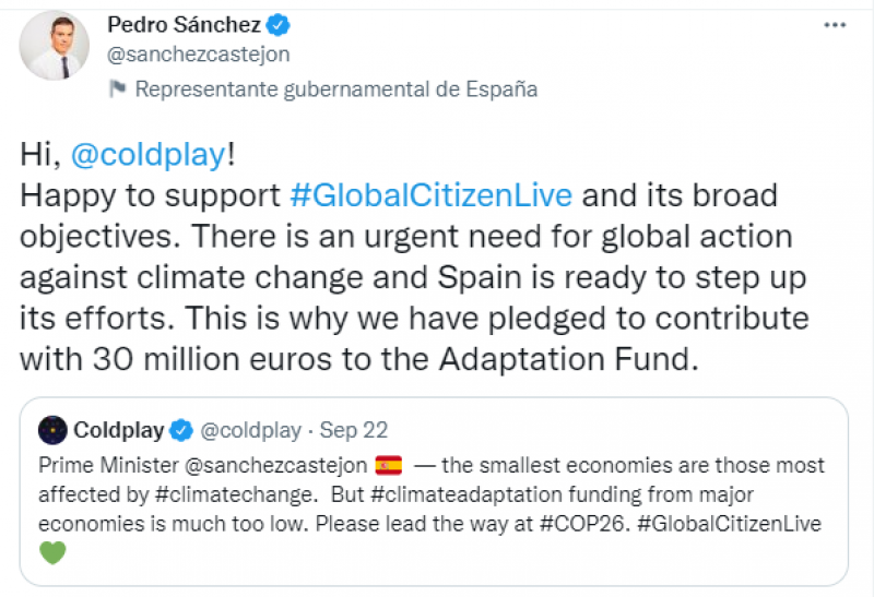 <span style='color:#780948'>ARCHIVED</span> - Pedro Sanchez and Coldplay discuss climate change on Twitter