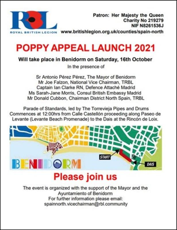 Benidorm will host official Poppy Appeal Launch 2021: October 16