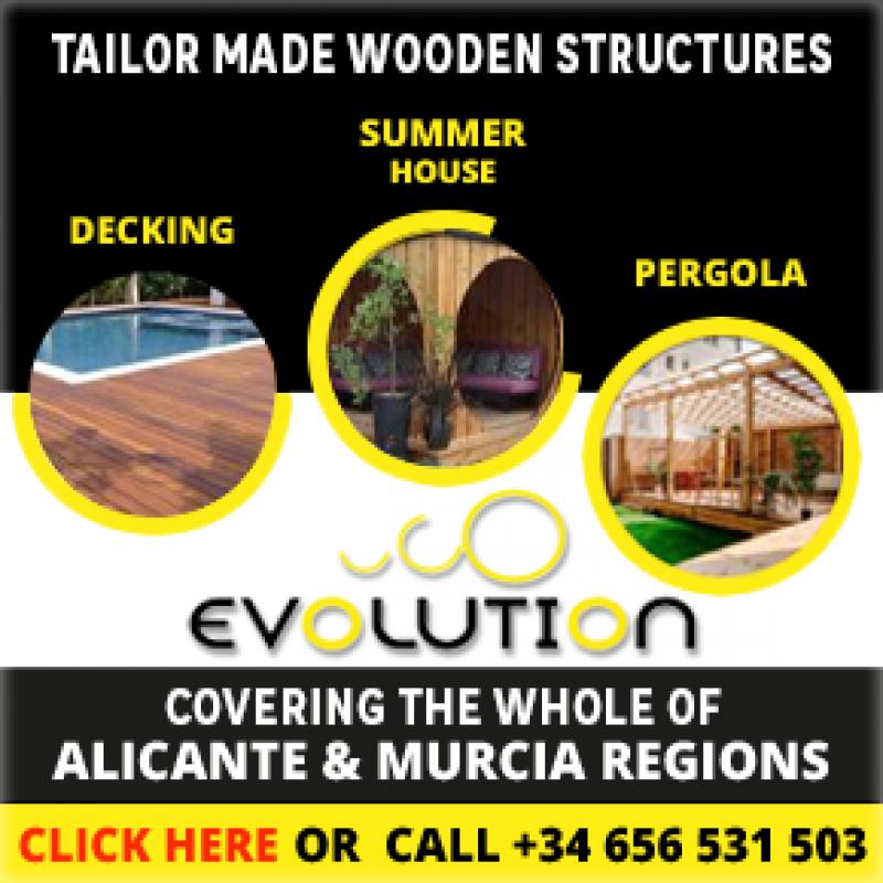 Evolution with wood; carports, decking, sheds, pergolas Alicante province and Murcia region