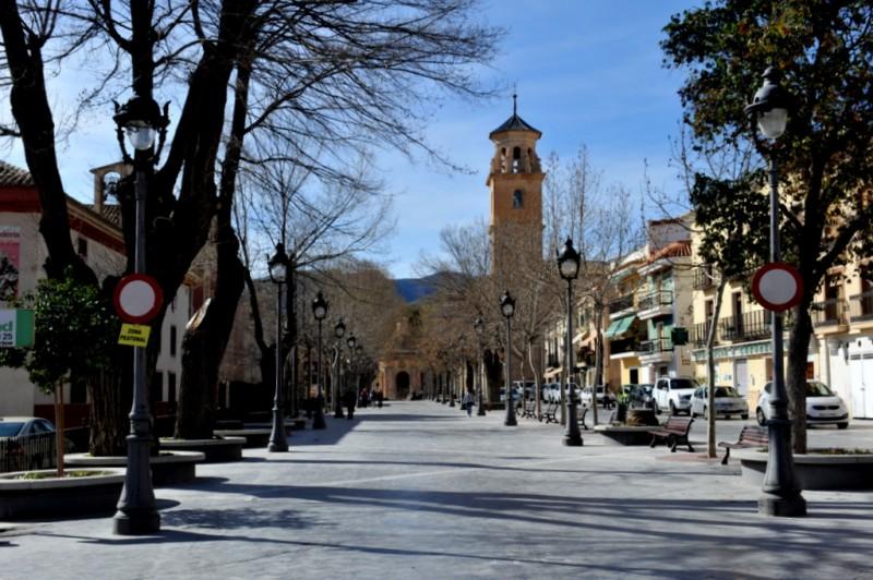 The Glorieta or Calle Corredera, the main tree-lined avenue in Caravaca de la Cruz